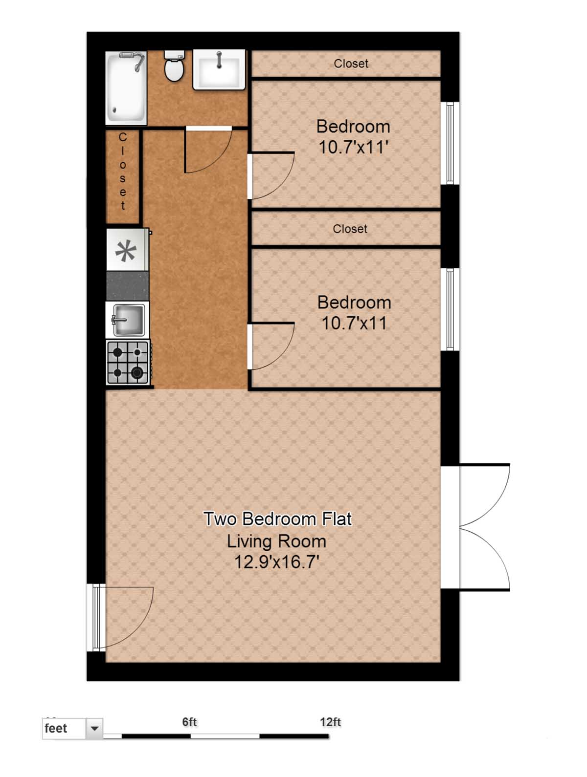 Floor plans evergreen terrace apartmentsevergreen for Floor plan design for 2 bedroom flat